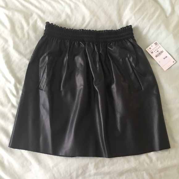 quality and quantity assured special for shoe choose clearance Zara NWT faux black leather skirt with pockets